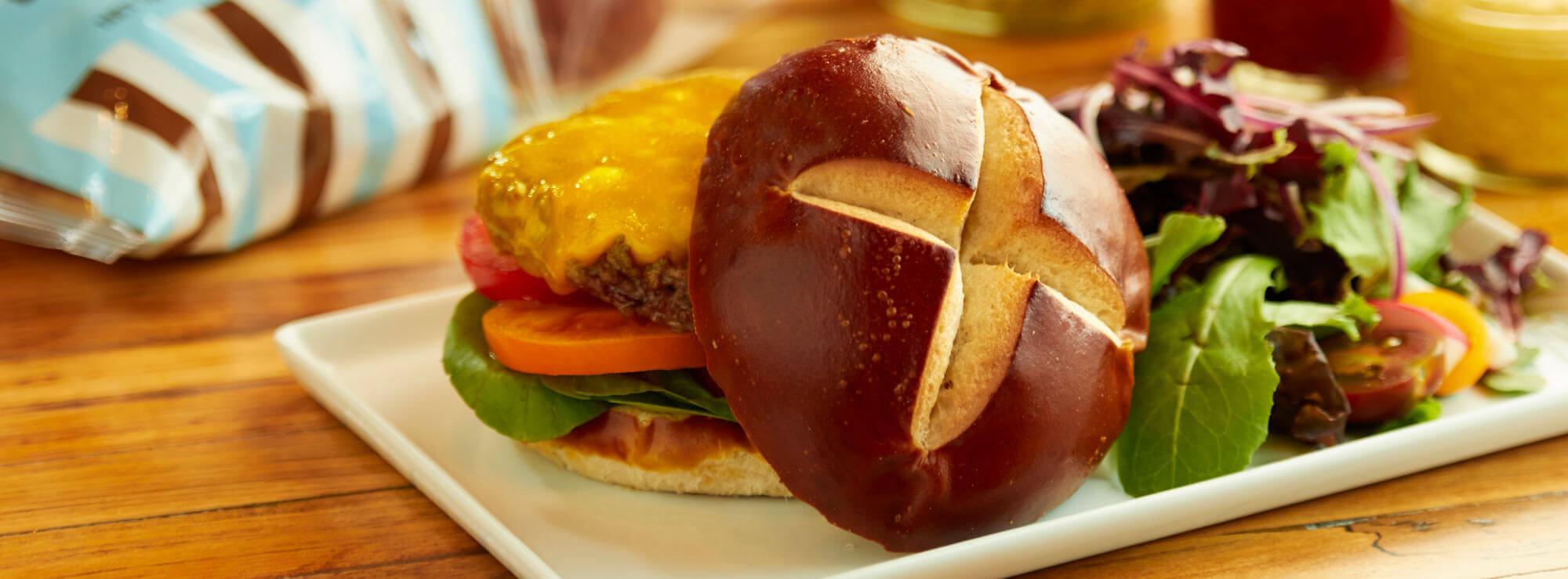 Pretzel Hamburger Bun